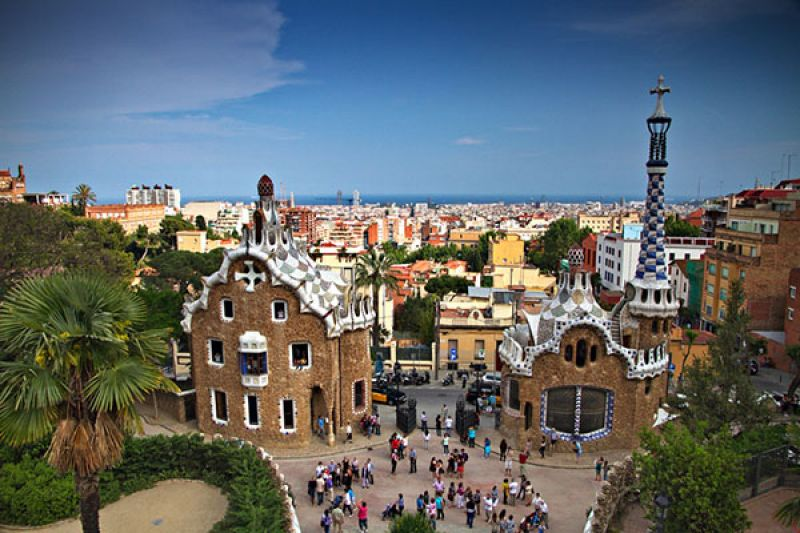 Elevated view over Guell Park in Barcelona