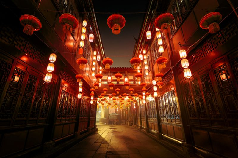 Hanging lanterns illuminating street in China